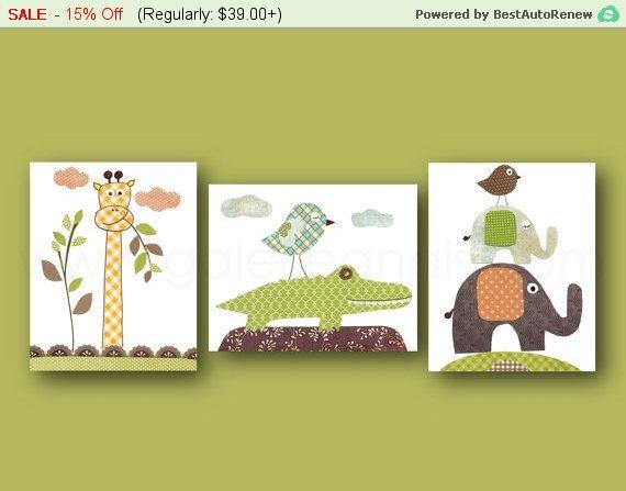 Decoración del arte del cuarto de niños cocodrilo jirafa infantil elefante niños pared arte selva guardería niños habitación decoración amarillo naranja azul verde juego de 3 impresión