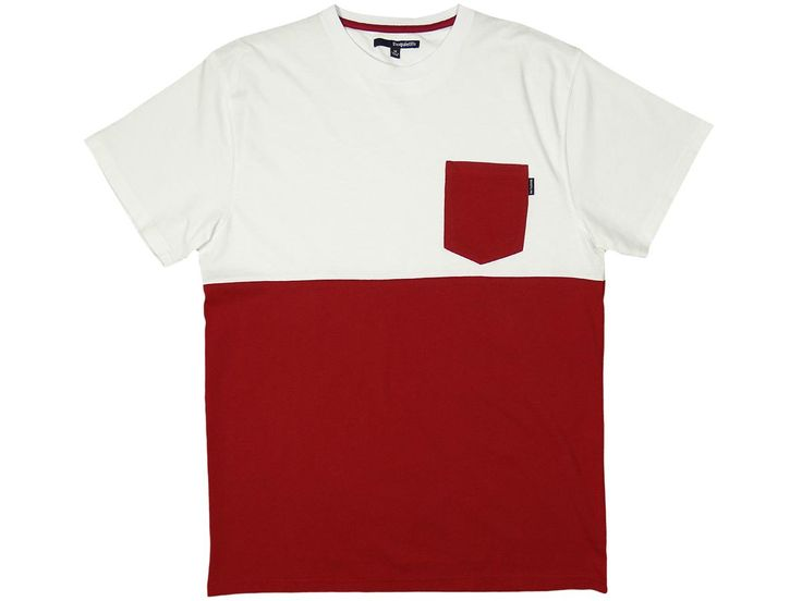 The Quiet Life - Color Blocked Pocket T White/Maroon