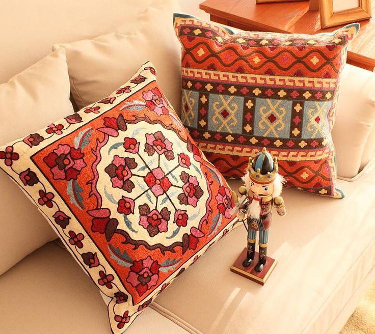 Старинные вышитые декоративные наволочки диван роскошные чехлы китайский стиль наволочки, вышитые подушки крышки купить на AliExpress