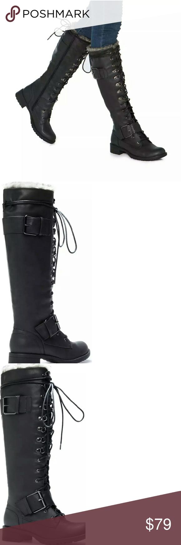 """Shoedazzle boots, Mariya boots, NWT SHOEDAZZLE Mariya black boots, faux leather, heel height 1.50"""", has inner zipper, and adjustable laces. Front laces, buckles, and faux fur. Very comfortable. Never used, brand new. Shoe Dazzle Shoes Lace Up Boots"""