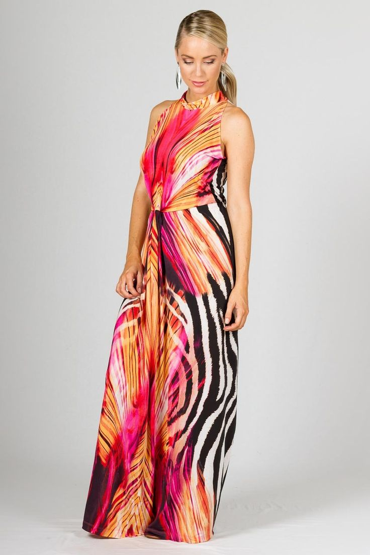 Claudia Maxi Dress - Graphic - Paper Scissors Frock  Super elegant tie neck maxi with twist feature on waistline and keyhole at nape of neck.   Length: 57 inches shoulder to hem.  Made from high quality ITY polyester.  Pictured model is 5'8""