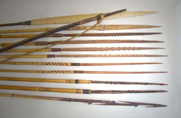 different examples of arrow points, from New Guinea, that are made of wood and bamboo - Google Search