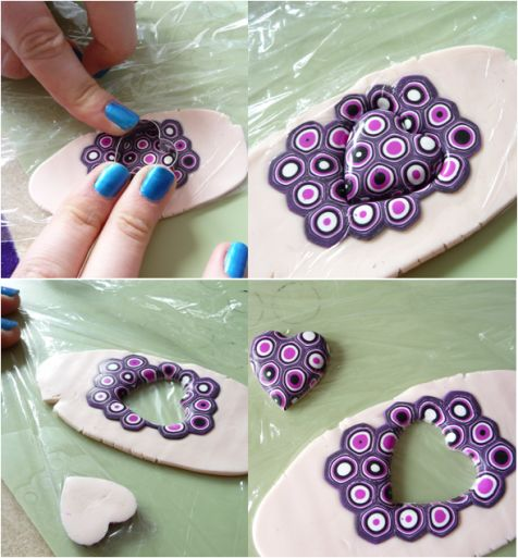 Extruder canes made into a sheet, covered with plastic to smooth edges from the heart cutter.  Full pendant tute. #Polymer #Clay #Tutorial