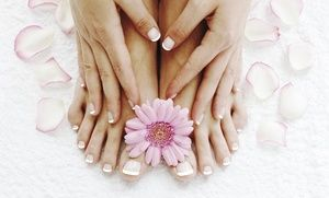 Groupon - Shellac Mani-Pedi with Paraffin Dip, Mani-Pedi for Two with Champagne, or Mani-Pedi at Air Salon & Spa (Up to 55% Off) in East Side. Groupon deal price: $45