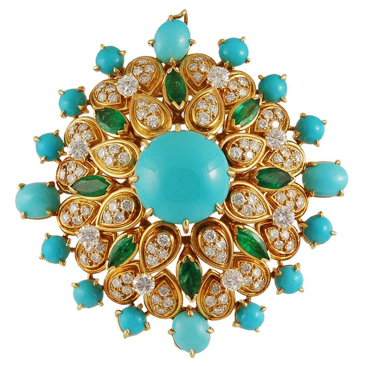 Van Cleef & Arpels Turquoise Emerald Diamond Gold Brooch   From a unique collection of vintage brooches at https://www.1stdibs.com/jewelry/brooches/brooches/