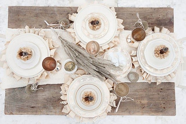 love this table setting: Wedding Tables, Books Pages, White Tables, Tables Sets, Wedding Ideas, Rustic Tables, Winter Wonderland, Winter Wedding, White Christmas