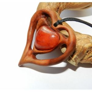 """Flaming heart"" Wooden pendant. OakForest Woodwork. Handmade. Materials wild pear wood, Carnelian, Linseed oil. Size: 5x4,5 cm."