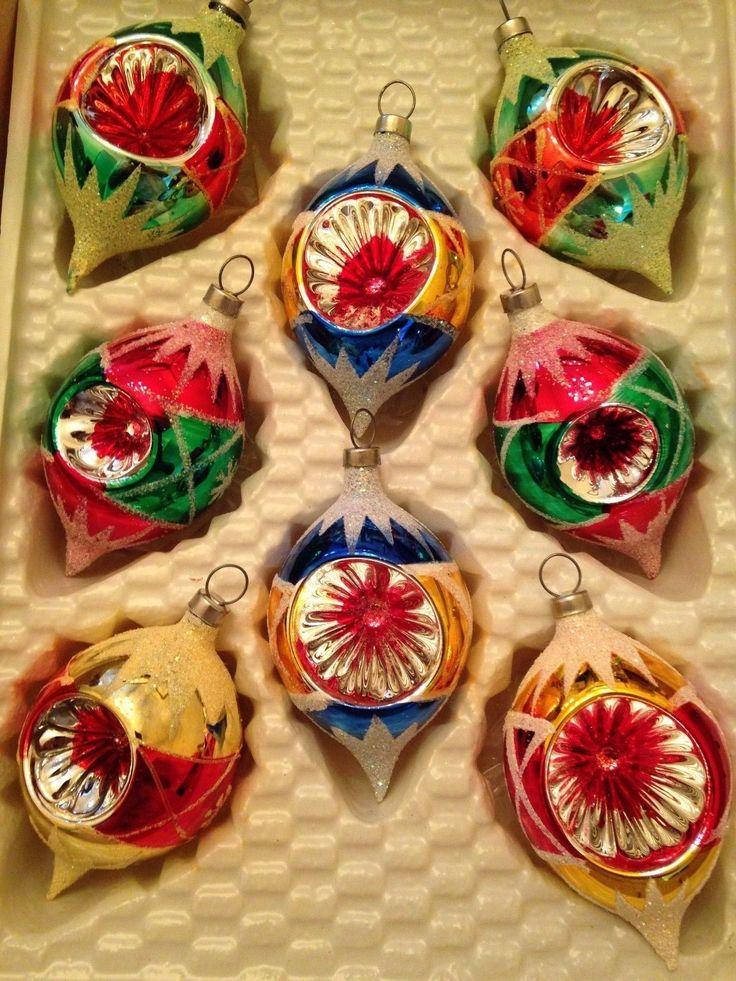 Vtg SHINY BRITE Mercury Glass XMAS Ornaments MICA INDENTS w/ Box ...
