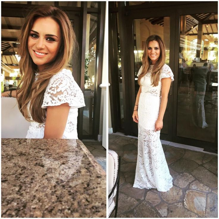 Beautiful TV Hostess of Happy Day Eleni Tsolaki, in Giulia S 'Elista' lace dress in white.