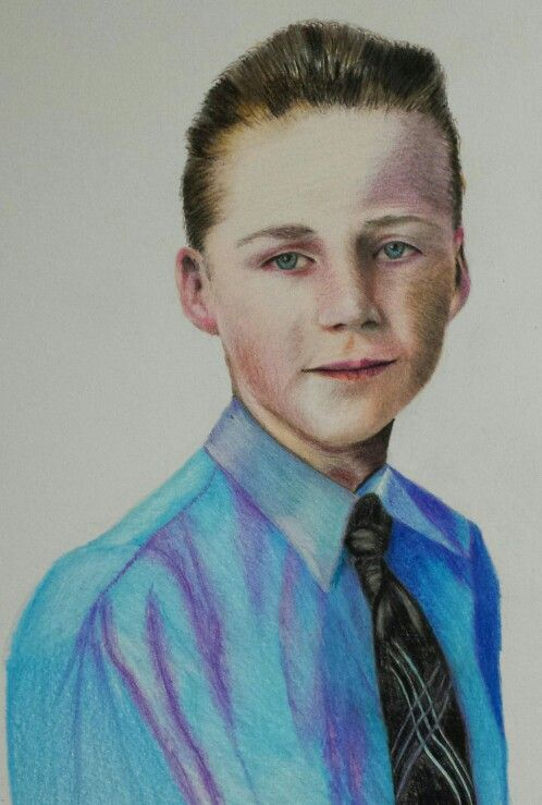Malcolm - colored pencil by Louise T. Webber