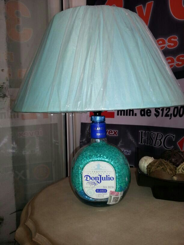 Lampara de botella Don Julio turquesa