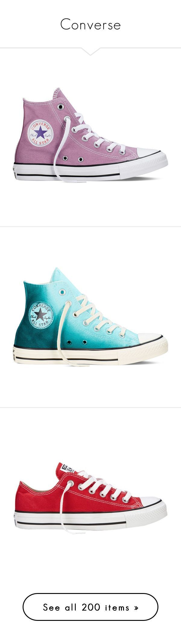 """Converse"" by lghockey ❤ liked on Polyvore featuring shoes, sneakers, converse, powder purple, converse sneakers, converse high tops, star sneakers, purple high tops, high top trainers and teal green shoes"