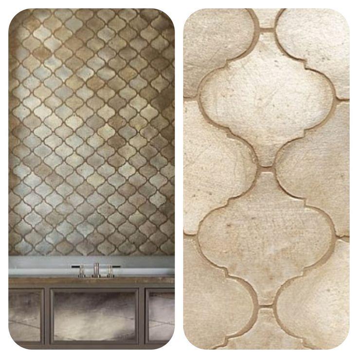 silver leaf arabesque tile   Walker Zanger Arabesque Silver Metallic Glazed Ceramic Tile