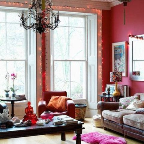 51 Inspiring Bohemian Living Room Designs | DigsDigs  I love this despite that it isn't STUFFED enough for me.  But the lights aro the window, the pink repeated and repeated.
