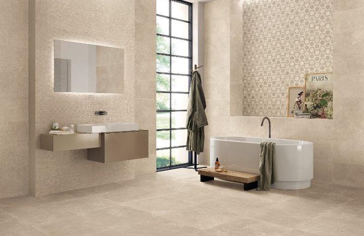 Een mooie zand kleurige keramische kalksteen voor een minimalistische vriendelijke sfeer. (16-ST). Tegelhuys Wijhe.