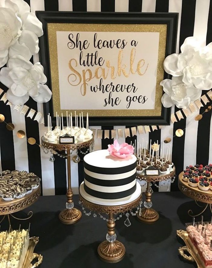 Tartlets And Cake Pops Various Other Sweets Near A Striped Black White Topped With Pink Flower 60th Birthday Party Ideas For Mom