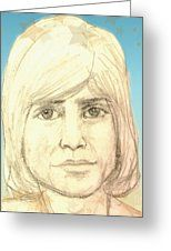 Portrait Of Justin Hayward Greeting Card by Joan-Violet Stretch