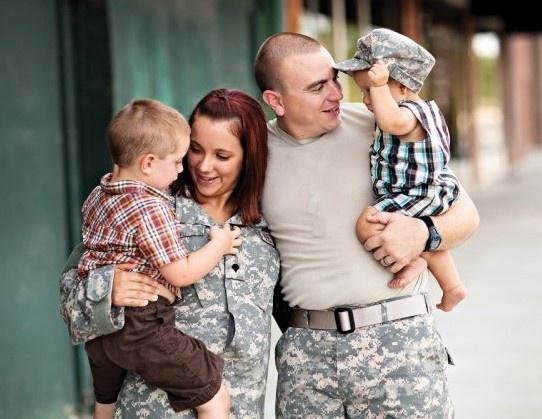 Touching Military Family Photo