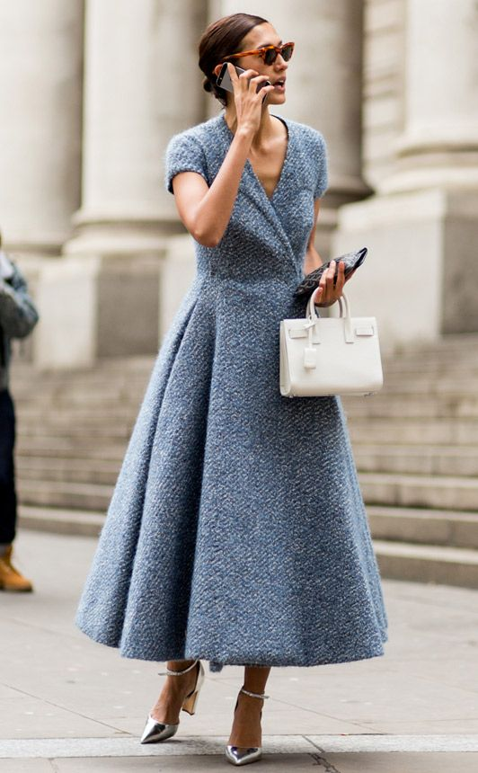London Fashion Week - Emilia Wickstead dress, silver shoes