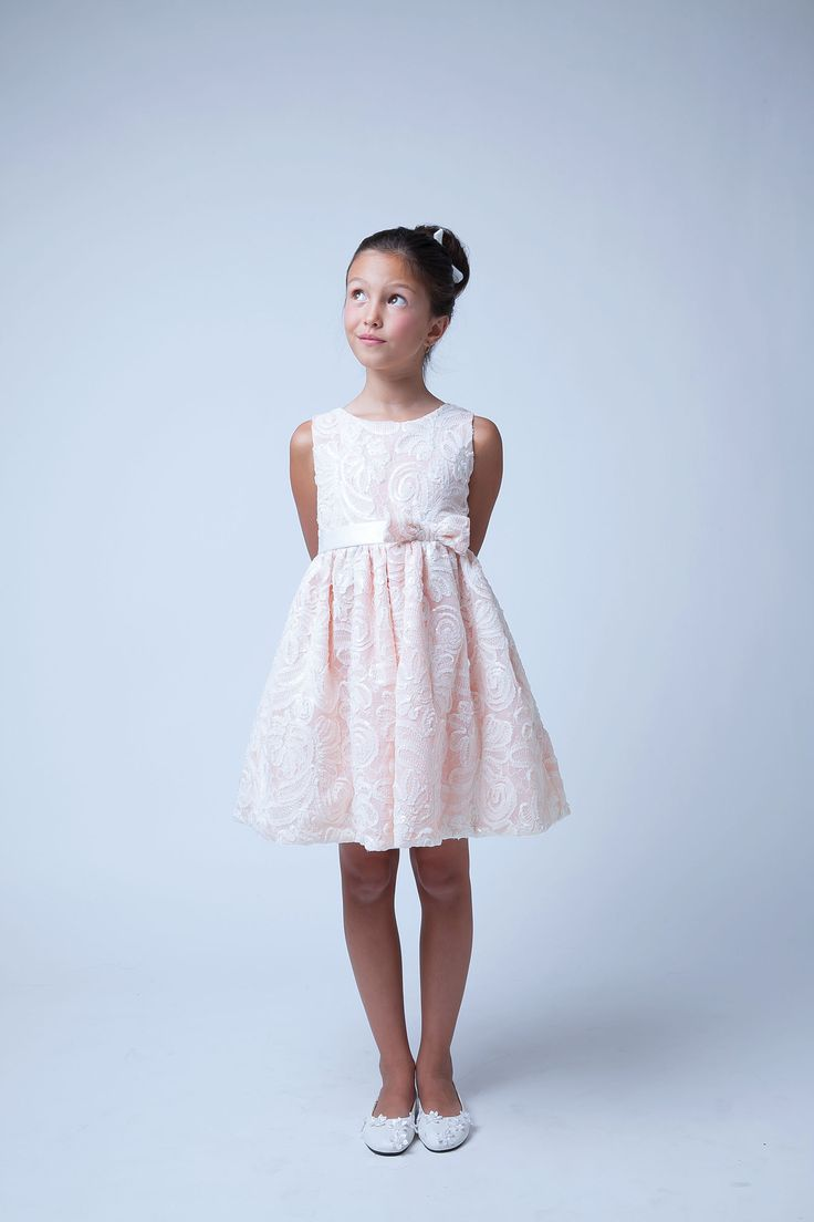 Flower Girl Dress Style 573- Sequin and Ribbon Embroidered Dress $58.99