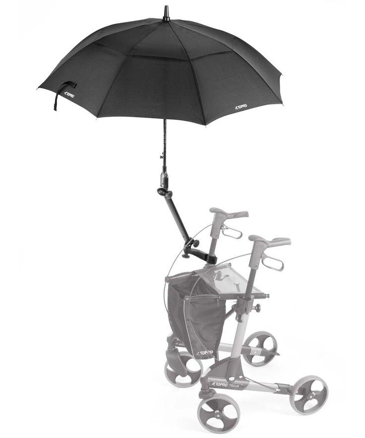 Topro Schirm mit Multifunktionsarm, schwarz, Rollator Zubehör für Troja, 2G, Olympos