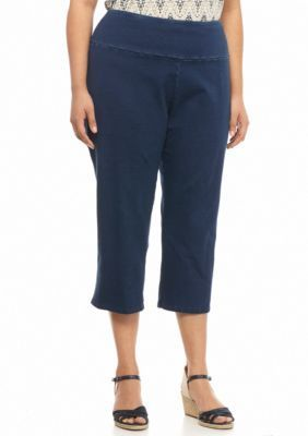 Kim Rogers Plus Size Stretch Jersey Denim Capris | Products, Capri ...