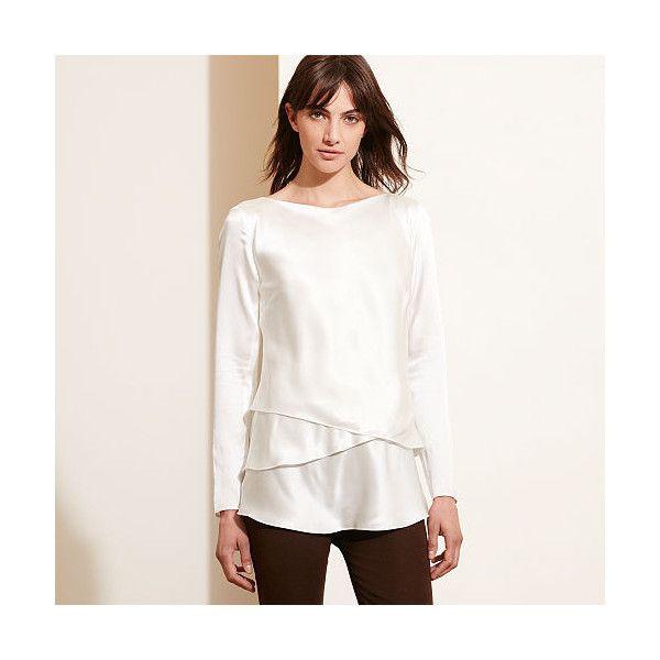 Ralph Lauren Lauren Asymmetrical-Hem Silk Blouse ($155) ❤ liked on Polyvore featuring tops, blouses, ralph lauren blouse, long sleeve silk blouse, boatneck top, white silk blouse and white button blouse