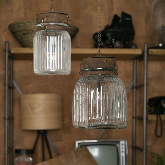 Lampe baladeuse en verre strié chaîne métal rouillé Gabe Dutchbone