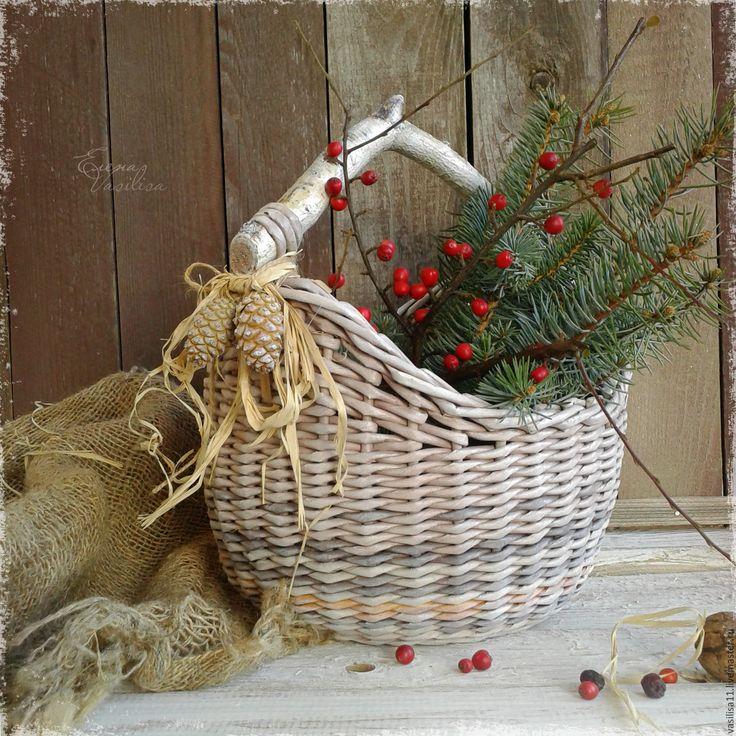 Купить Короб плетеный 'Орешек' - корзиночка, плетеный короб, короб с ручкой, летняя корзинка