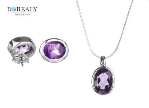 Purple Brilliant Cercei şi Colier Ametist - Pietre preţioase Argint 925 http://www.borealy.ro/bijuterii/seturi/purple-brilliant-magic-set.html