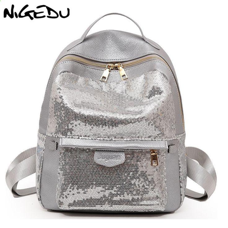 e87db7801726 Fashion Sequins Women Backpacks Teenage Girls Rucksack Glitter Ladies schoolbag  Large capacity female Travel Backpack mochila