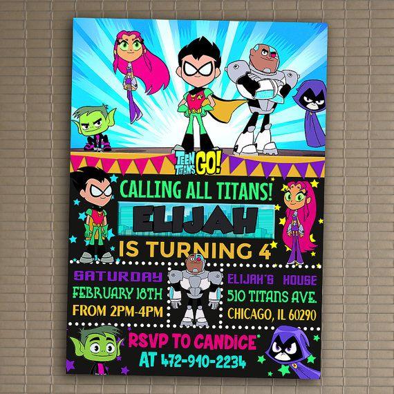 Jóvenes Titanes van invitación, imprimir invitación, Teen Titans Go cumpleaños, Teen Titans Go invitación fiesta de cumpleaños