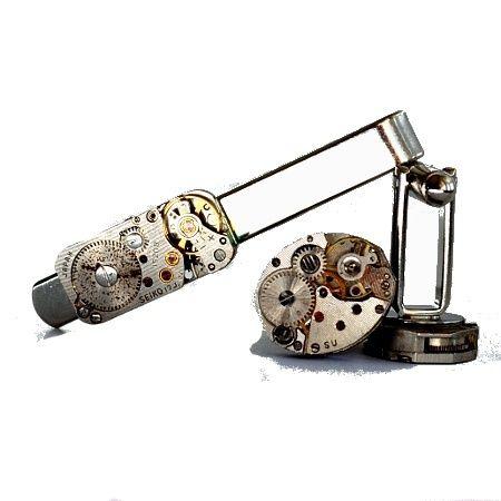 Steampunk inspirert mansjettknapper og slipsnål.