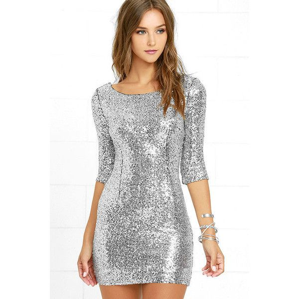 Delightful Ways Silver Sequin Dress (£48) ❤ liked on Polyvore featuring dresses, silver, silver bodycon dress, 3/4 sleeve dress, sequin cocktail dresses, body con dress and sequin bodycon dress
