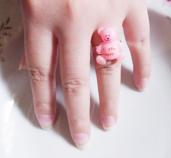 pink bear i love you happy ring by rabbitsillusions on Etsy