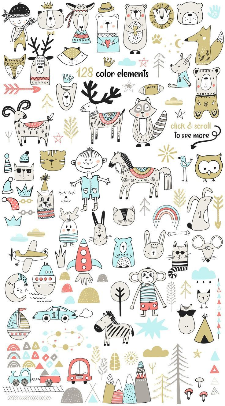 Scandinavian for BOY – Illustrations This nursery collection includes 115 black & white elements, 128 color elements, 36 lettering phrases & words (in black/white/color versions), 15 seamless patterns, 21 pre-made monochromes and color posters, ABC (each