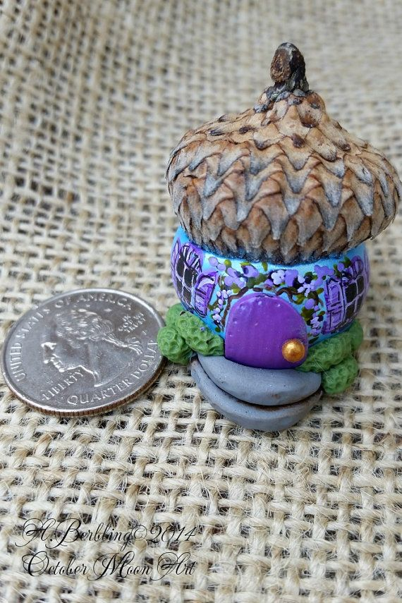 Miniature Fairy Faerie House...Tiny! Acorn-Cap Roof...The Tiniest Fae May Move Right In!