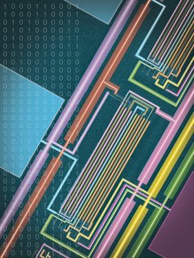 Den Kohlenstoff-Computer Leiterbahnen des Nanoröhren-Computers unter dem Elektronenmikroskop.(http://www.n-tv.de/wissen/Erster-Kohlenstoff-Computer-entwickelt-article11441476.html)