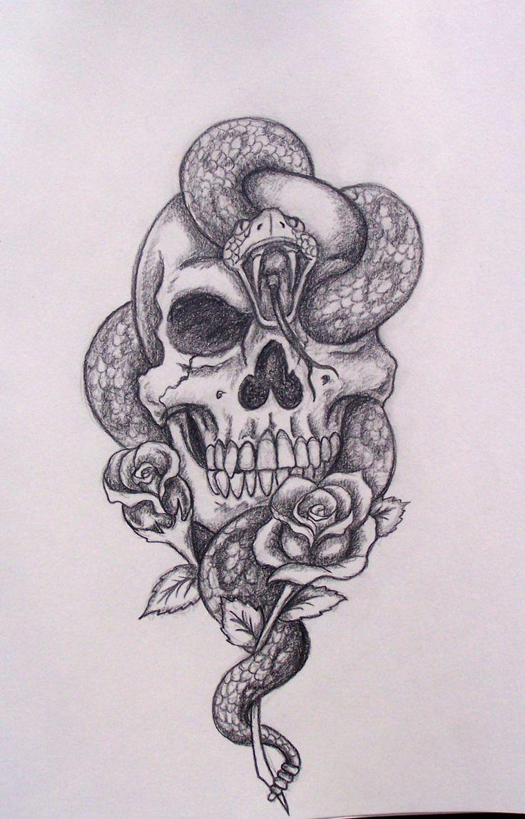 Cool Drawings Of Skulls And Roses Skull_snake_roses_by_davart11