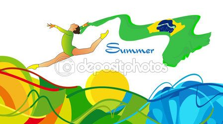 Rio 2016. Summer Brazil 2016. Young gymnast woman in green sportswear dress with Brazilian flag, doing art gymnastics element split leap in the air. Isolated on white background. Abstract Vector Illustration. Hand Drawn. Brazil Flag. Sport — Stock Vector © sofiartmedia.gmail.com #116851574