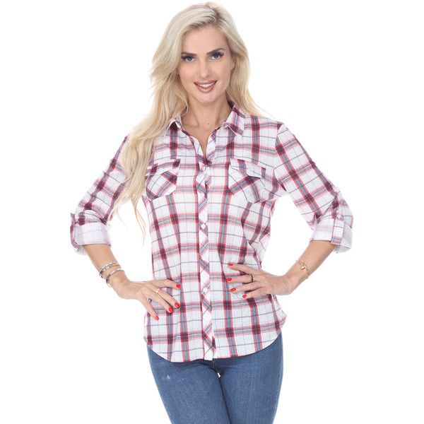 White Mark Fashion Oakley Stretchy Plaid Top Red and White ($30) ❤ liked on Polyvore featuring tops, red, stretch shirt, red and white plaid shirt, shirt top, tartan plaid shirt and red shirt