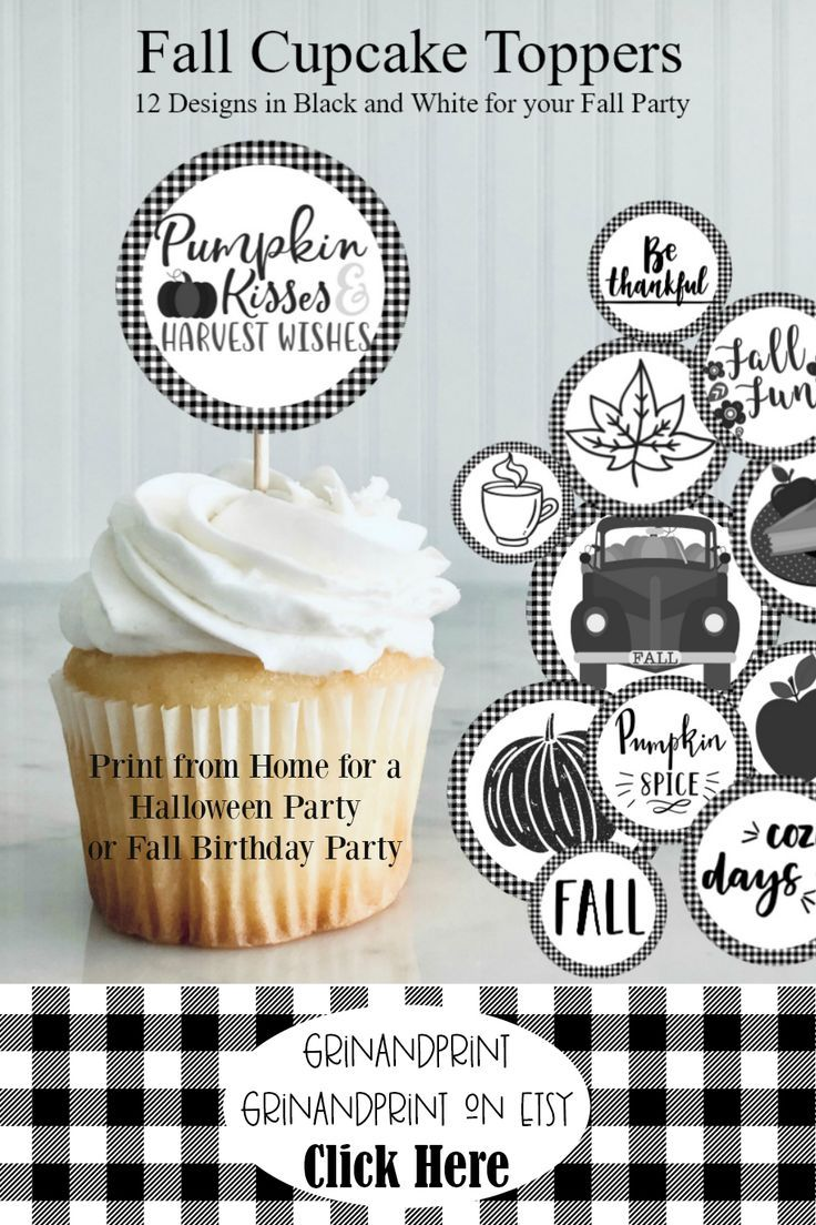 Cupcake Toppers Halloween Toppers Black And White Cupcake Etsy Halloween Food For Party Cupcake Toppers Printable Cupcake Toppers