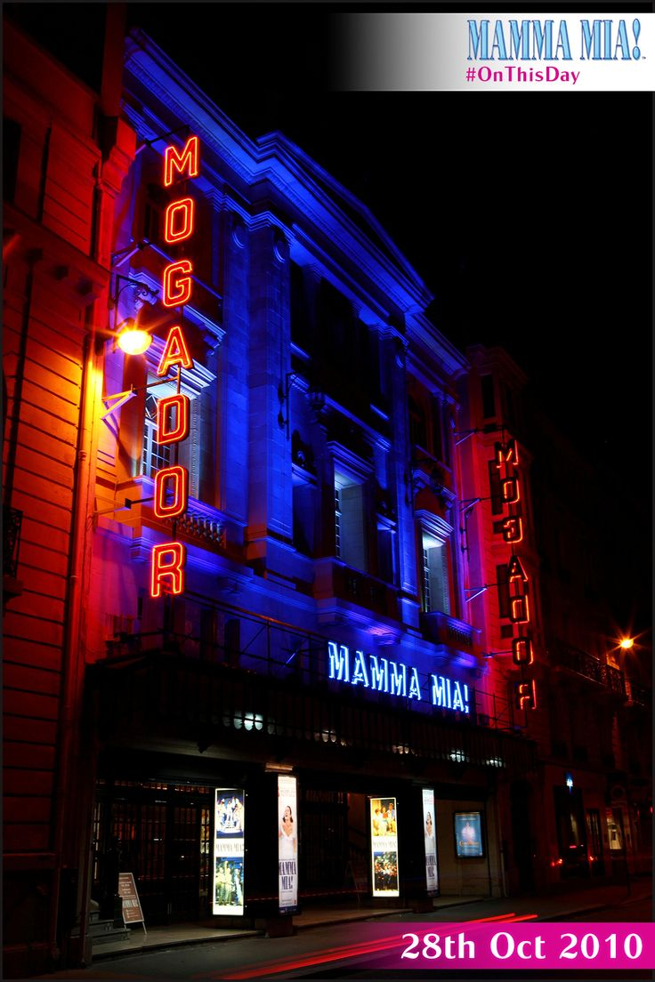 ON THIS DAY... 28th October 2010, the first French-language production of MAMMA MIA! opened in Paris at the Mogador Theatre! MAMMA MIA! Paris was seen by more 600,000 people and was awarded the Globe de Cristal 2011 Award for Best Musical. #MammaMiaMusical #OnThisDay www.mamma-mia.com