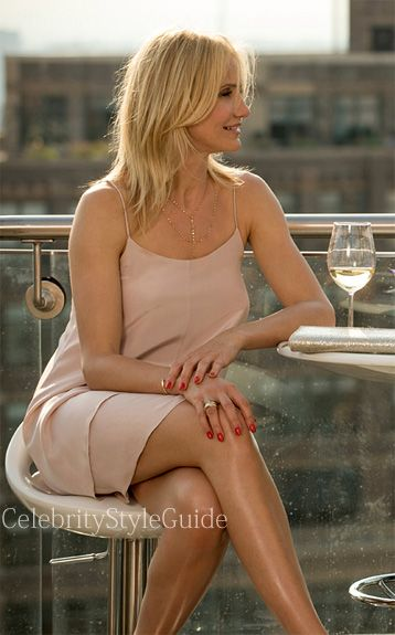 Seen on Celebrity Style Guide: The Other Woman Movie Fashion: Cameron Diaz, as Carly, wore this nude Topshop Boutique Double Layer Silk Slipdress in the cocktail scene in The Other Woman Movie  Get It Here: http://rstyle.me/n/jy95imxbn