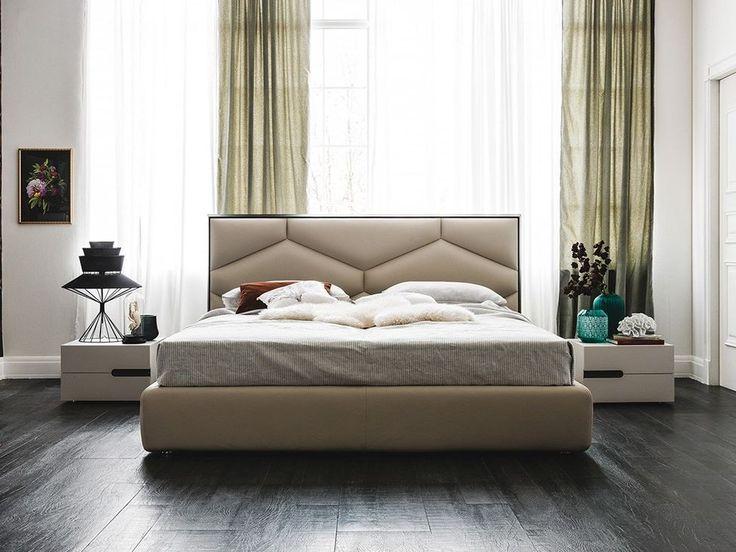 Leather double bed with upholstered headboard EDWARD by Cattelan Italia design Gino Carollo
