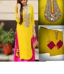Buy Yellow cotton embroidered semi stitched salwar with dupatta patiala-salwar online