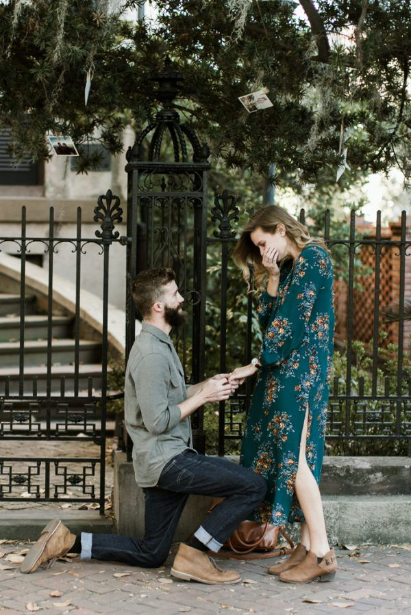 Sweet Surprise Proposal and Engagement Session in Savannah, Georgia