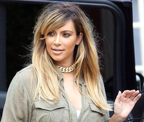kim kardashian ombre blond hair hairstyle pinterest