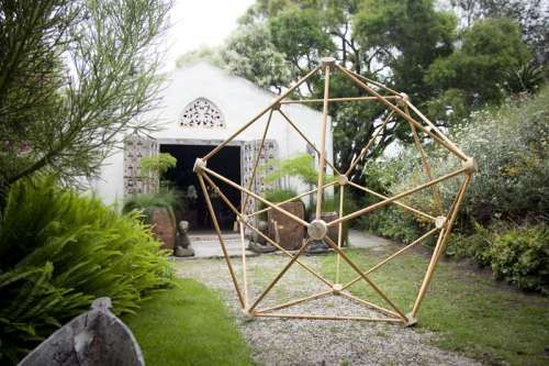 Site_Specific 2013, Gordon Froud residency. The geodesic, HI virus sculpture was designed to tight parameters, requiring no wood glue or screws. It is held together entirely by wooden connectors and pins. The imposing sphere attracted a lot of attention, particularly when constructed on site with observers becoming willing participants in its construction.