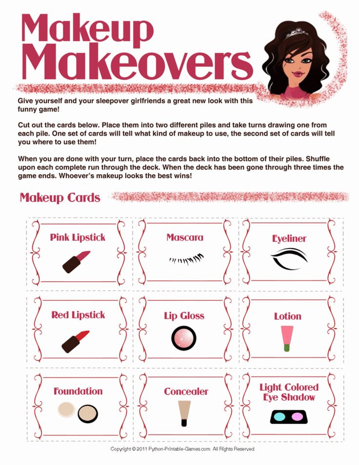 Makeup Makeovers Printable Slumber Party Game For Girls! For More Party Themes And Ideas Visit ...